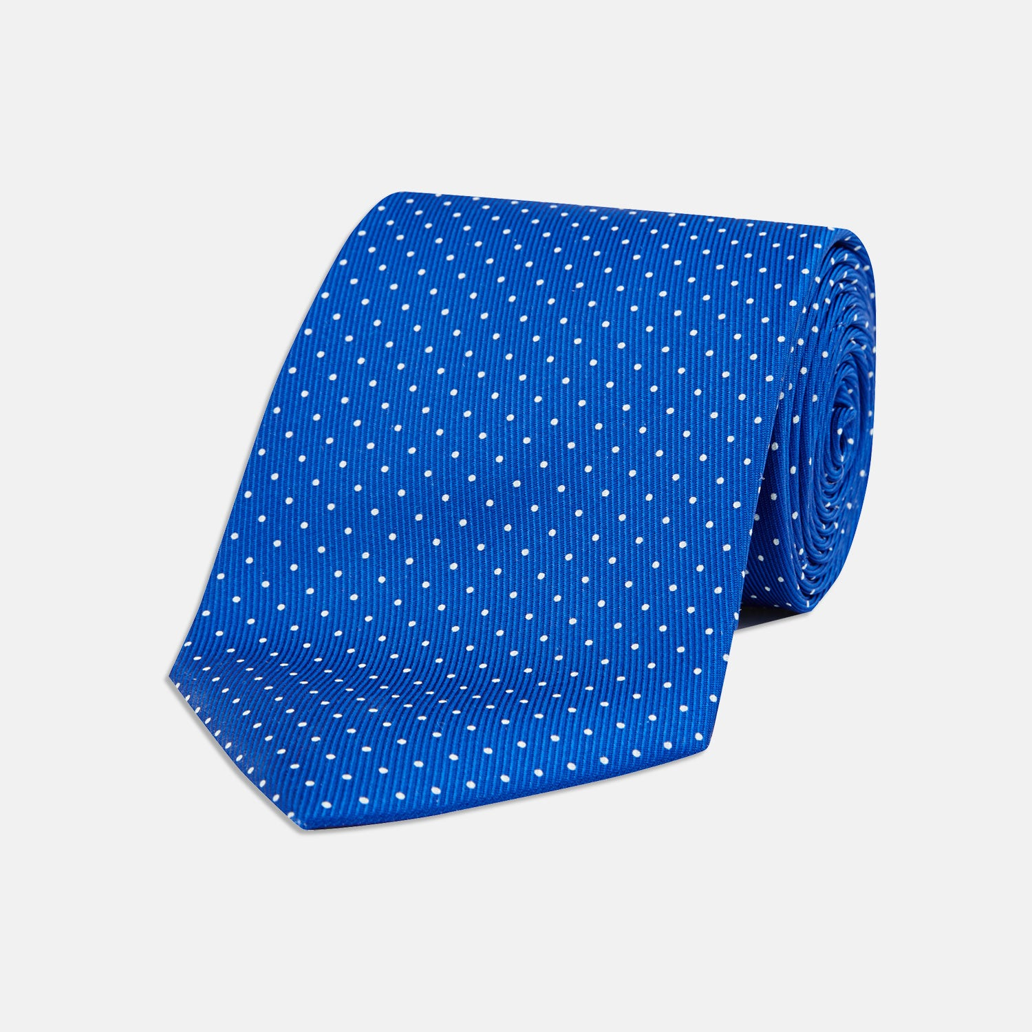 Royal Blue and White Small Spot Printed Silk Tie