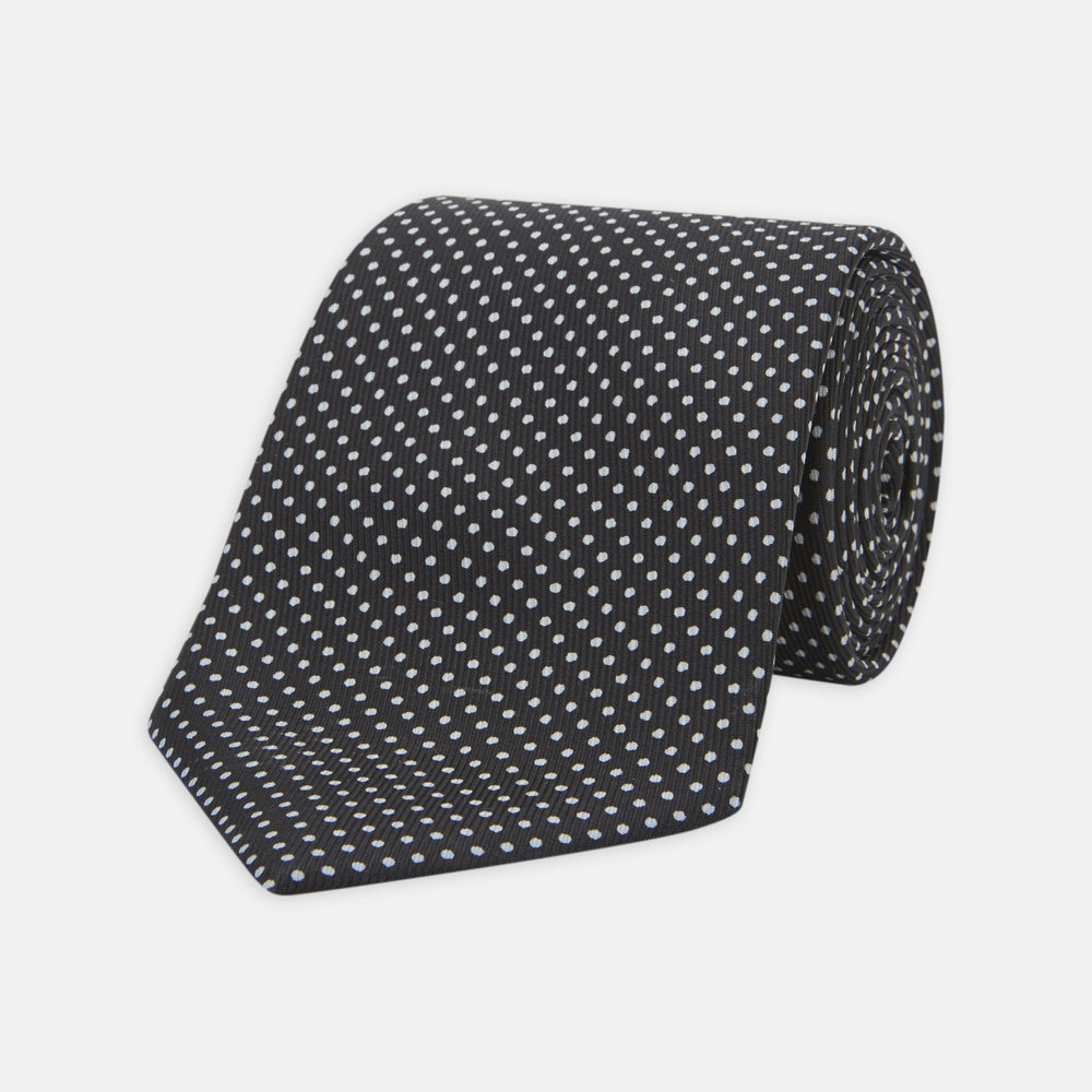 Slim Black and White Small Spot Printed Silk Tie