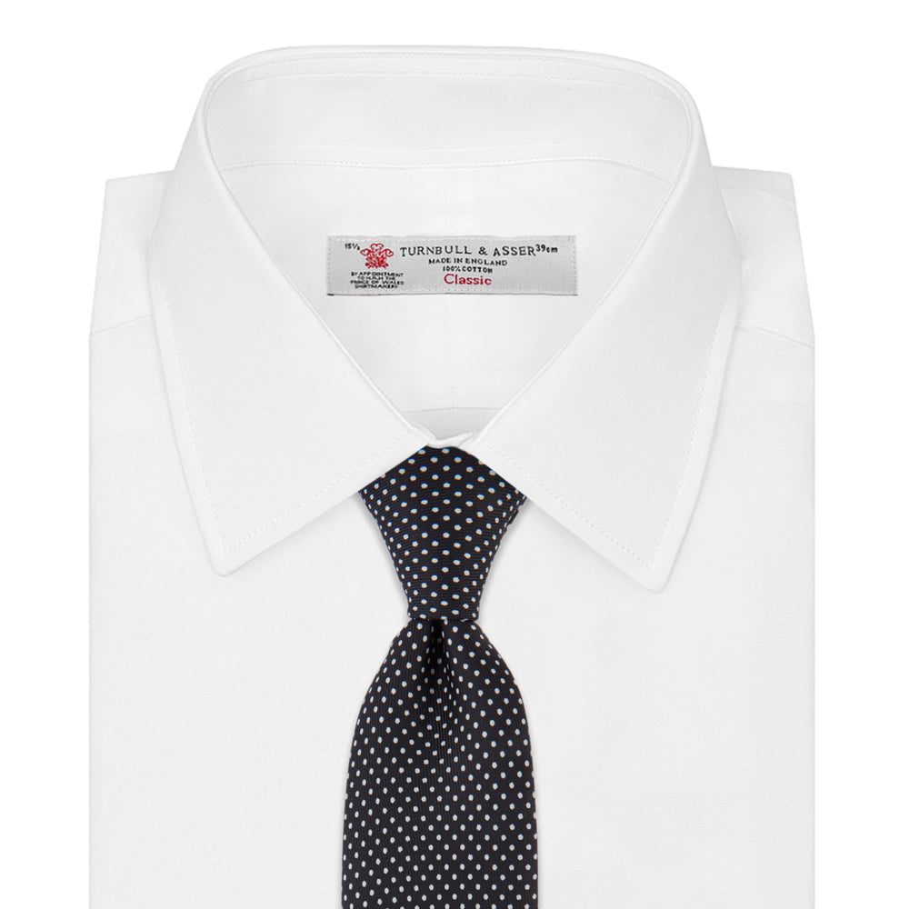 Black and White Small Spot Printed Silk Tie