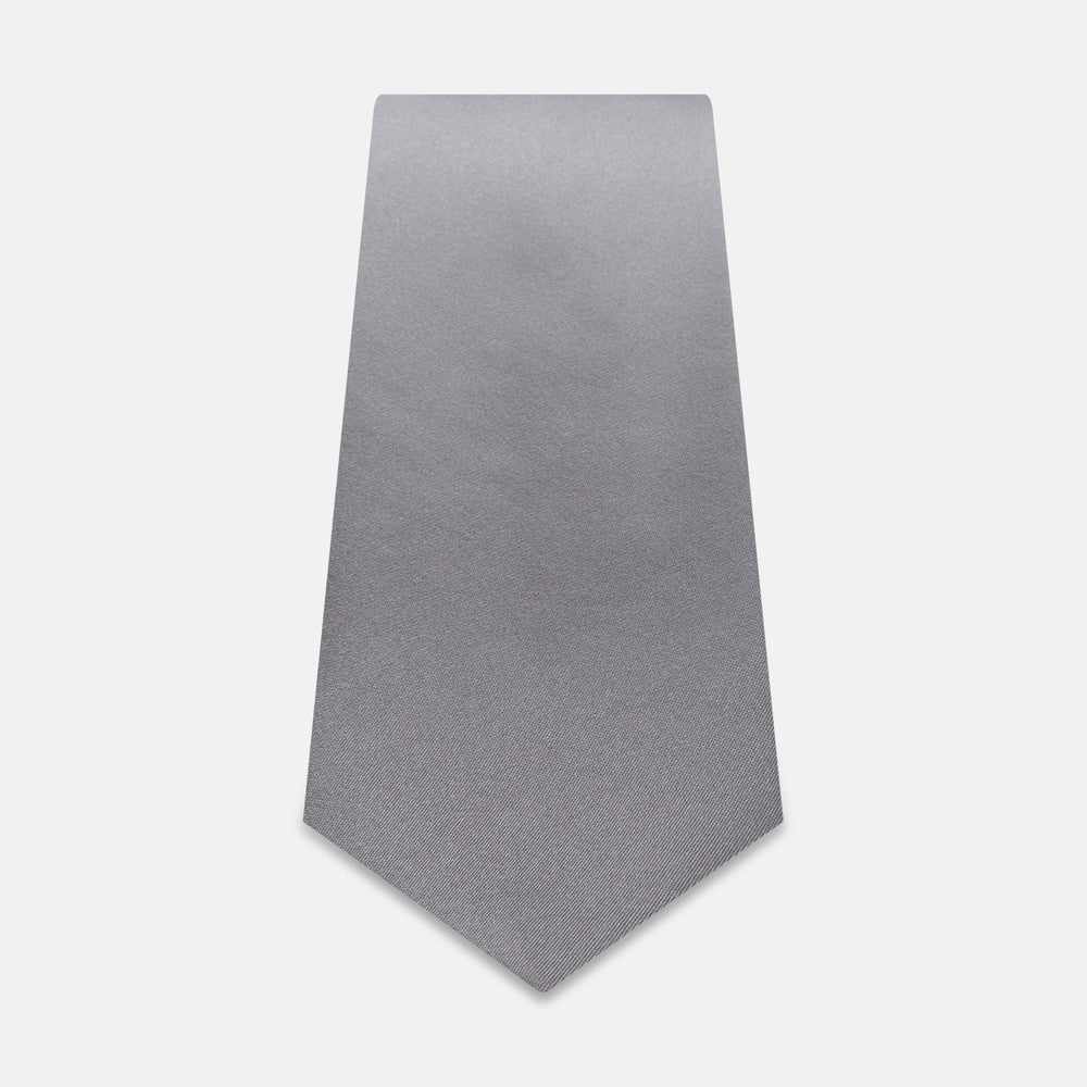 Grey Satin Silk Tie