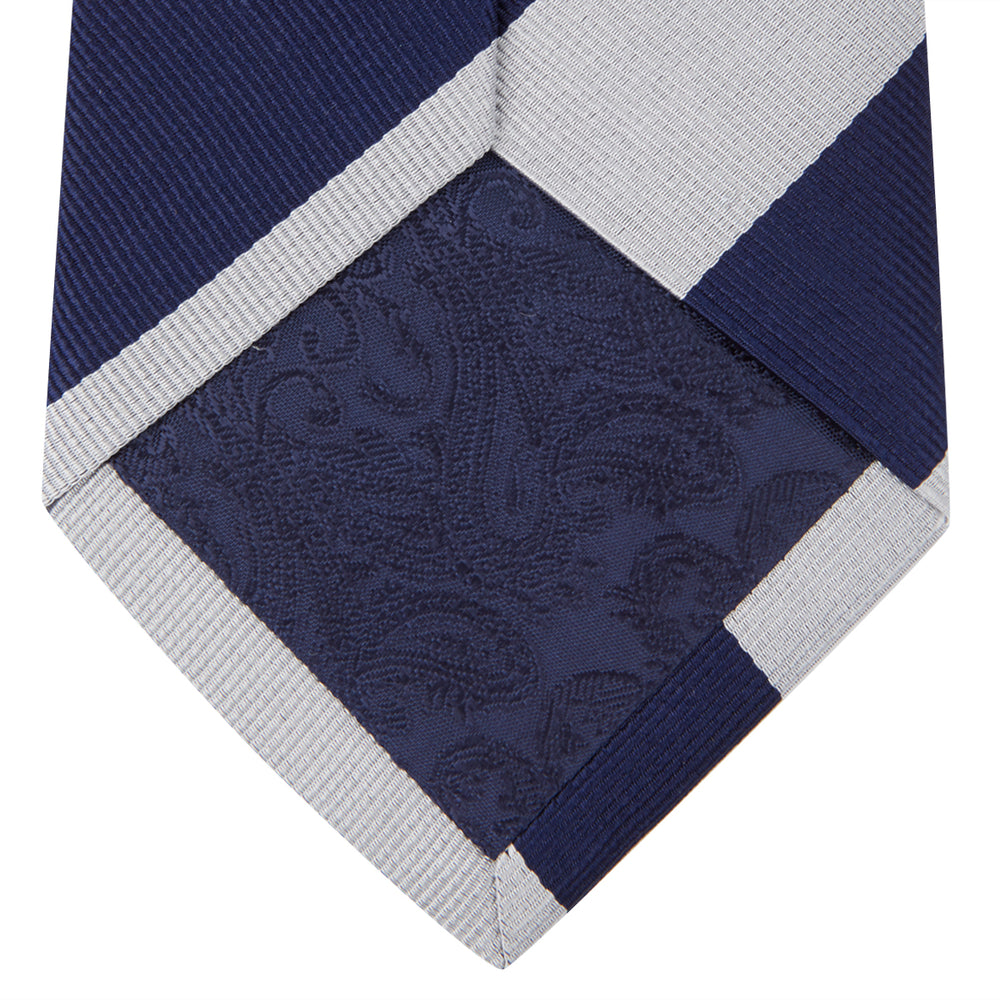 Navy and Off-White Block Stripe Repp Silk Tie