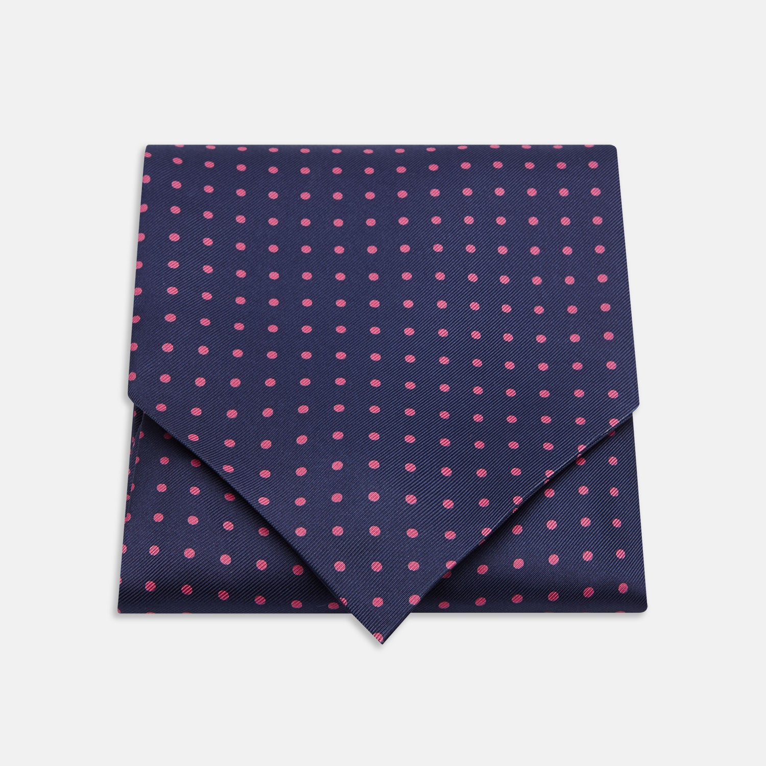 Navy and Pink Spot Silk Ascot Tie