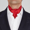 Red and White Medium Spot Silk Ascot Tie