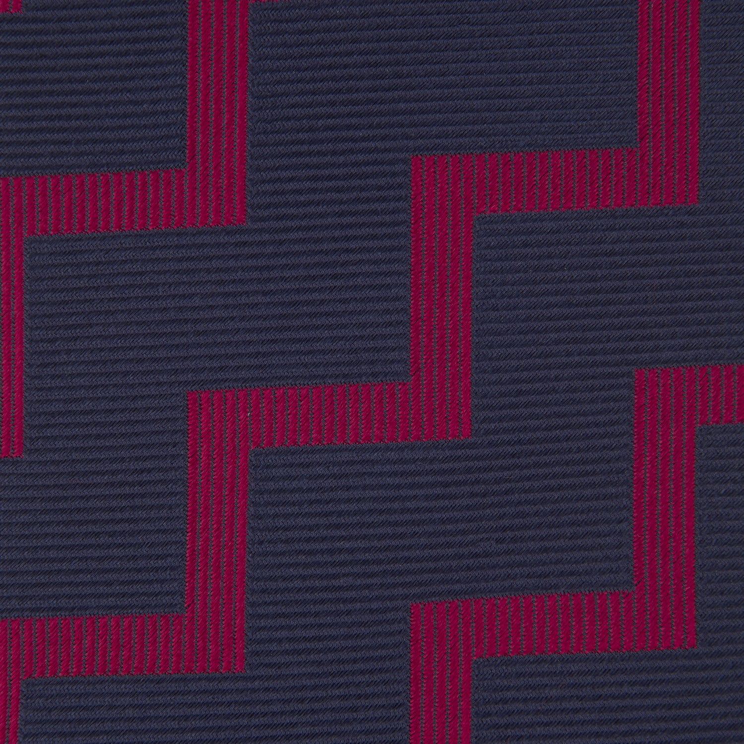 Navy and Red Striped Zigzag Silk Tie