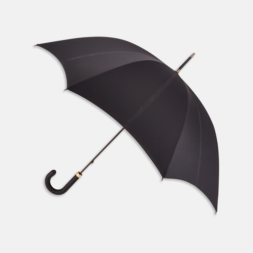 Black Umbrella with Leather Crook