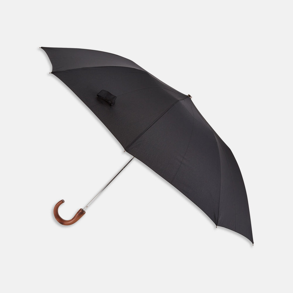 Brown Telescopic Umbrella with Black Maple Crook