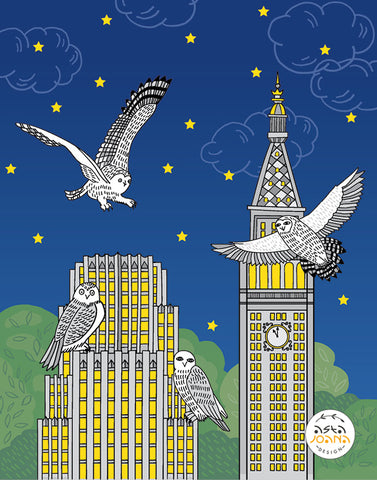 Owls in a cityscape at night