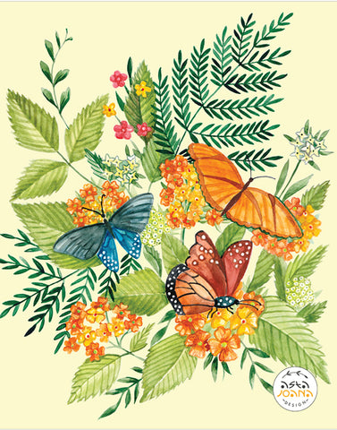Colorful butterflies and orange flowers
