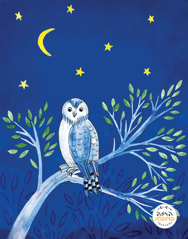 Owl on a branch starry night