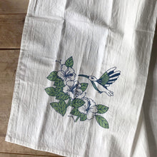 Load image into Gallery viewer, Tea towel with hummingbird - blue and green