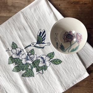 Tea towel with hummingbird - blue and green