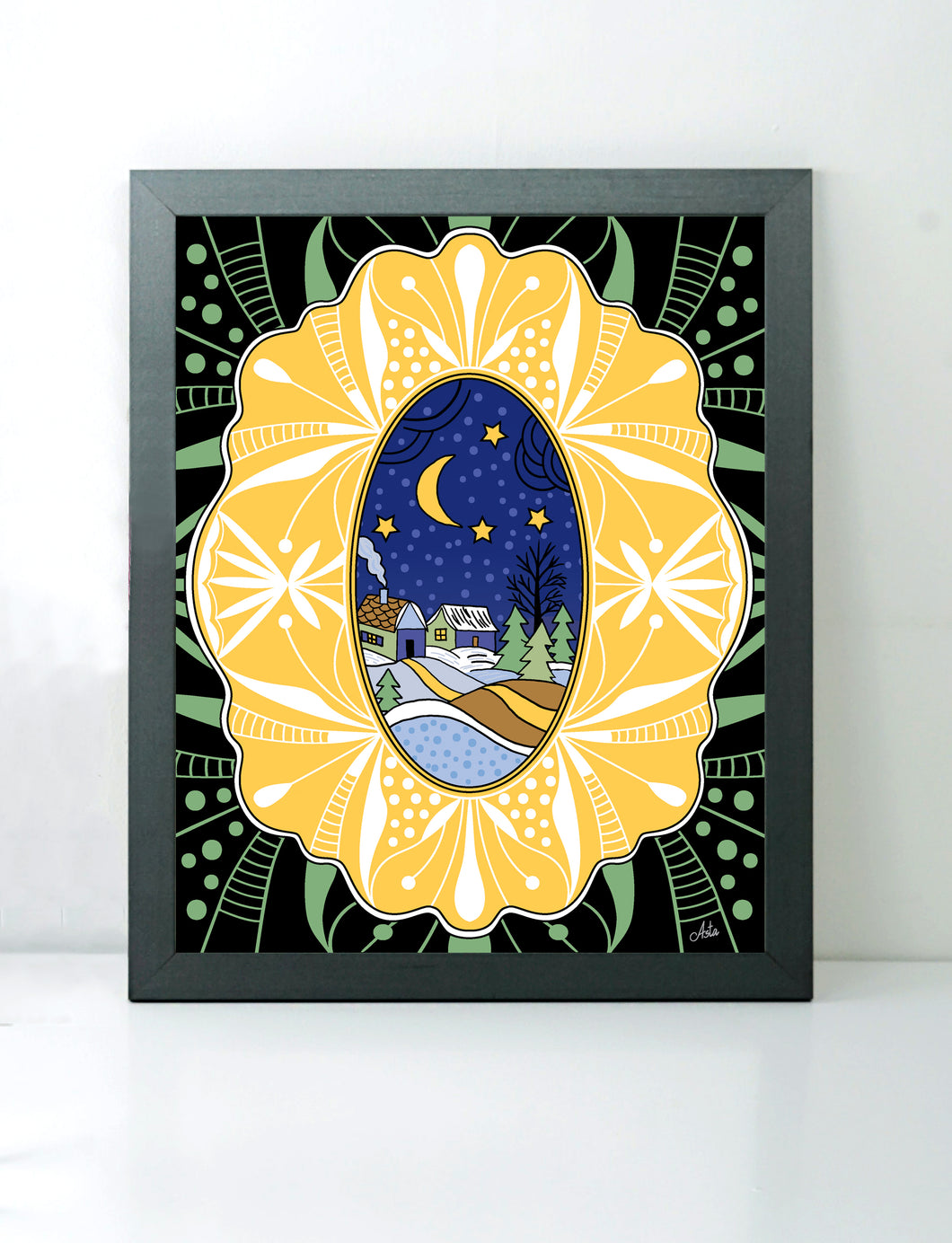 Night Winterscape With Yellow Border art print