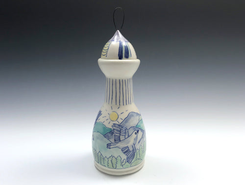 Bottle with mountain bluebirds