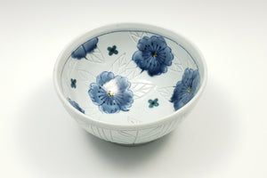 Personal sized bowl with celadon glaze and flowers – 1