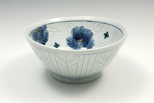 Load image into Gallery viewer, Personal sized bowl with celadon glaze and flowers – 1
