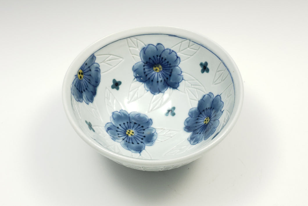 Personal sized bowl with celadon glaze and flowers – 2