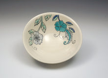 Load image into Gallery viewer, Personal sized bowl with blue flowers