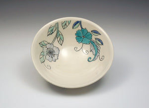 Personal sized bowl with blue flowers