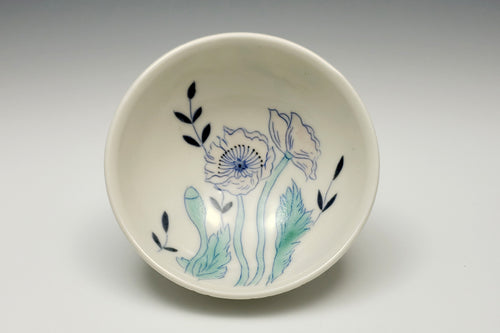 Personal sized bowl with pink poppies