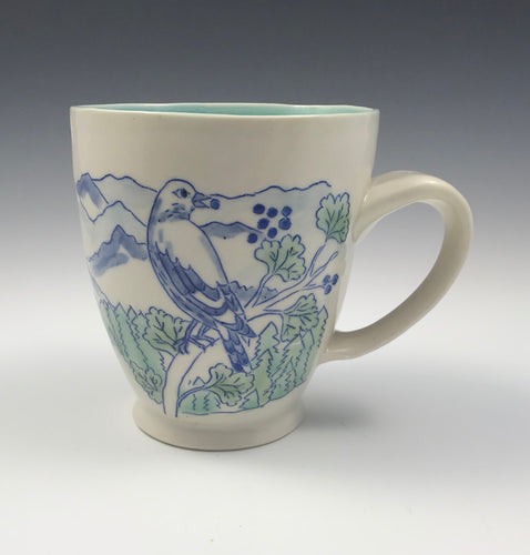 Mug with mountains and birds – custom order - RESERVED