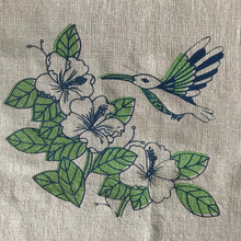 Load image into Gallery viewer, Linen napkin with hummingbird - blue and green