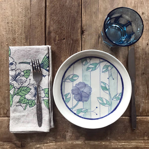 Linen napkin with hummingbird - blue and green