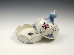 Round butter dish with red flowers