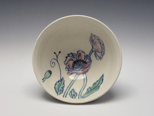 Small bowl with pink poppies