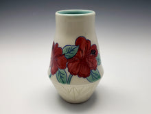 Load image into Gallery viewer, Vase with hummingbird and red hibiscus