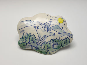 Small cloud wall sculpture with bird and mountains