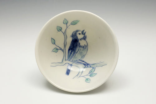 Small bowl with scruffy bird