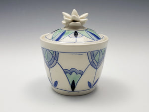Lidded jar with sculpted succulent lid