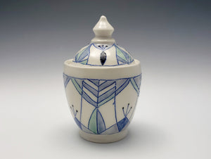 Lidded sugar jar with Art Deco design