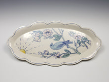 Load image into Gallery viewer, Oval platter with bird and cherry blossoms