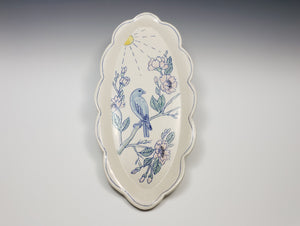 Oval platter with bird and cherry blossoms