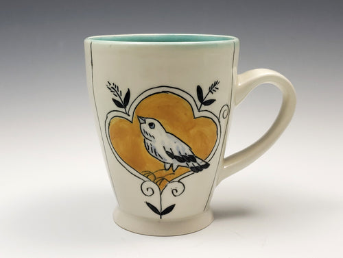 Bird and yellow flower mug – made to order