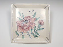 Load image into Gallery viewer, Square plate with pink peonies