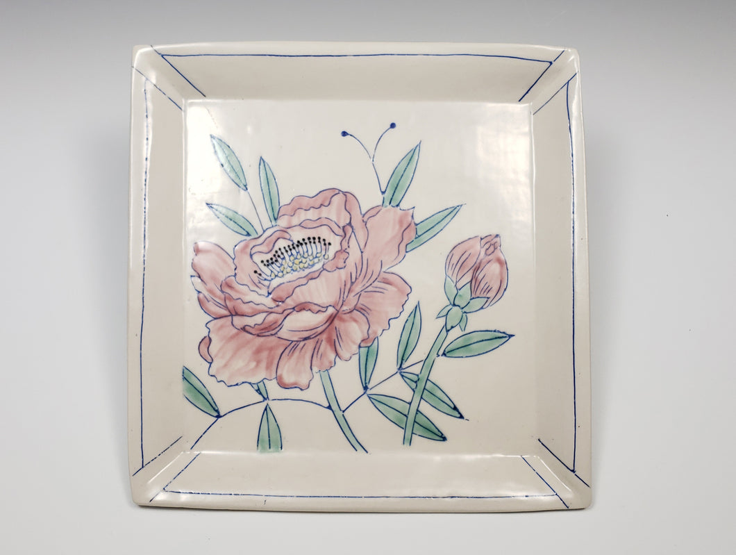 Square plate with pink peonies