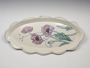 Oval platter with poppies