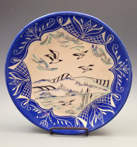 Decorative plate with flying seaguls