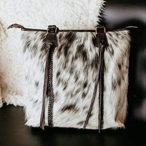 Austine Cowhide Purse with Braided Accent