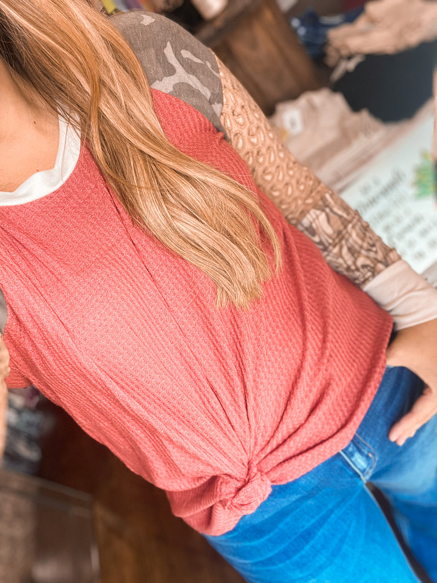 Makin Rounds Waffle Knit Top