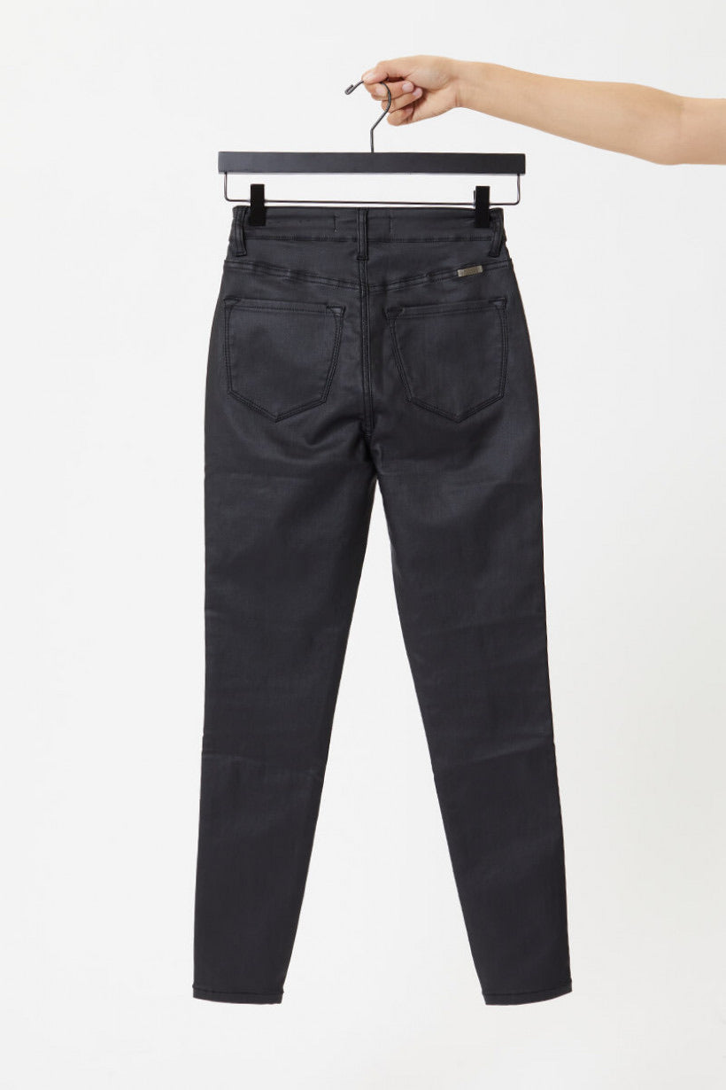 Kancan High Rise Ankle Leather Jeans