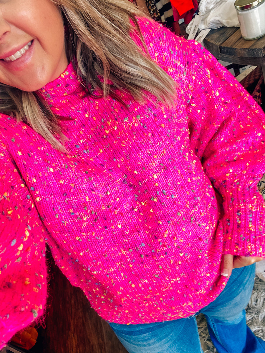 Pretty in Pink Confetti Sweater
