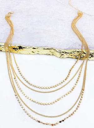 Gold Multi Strand Layered Necklace