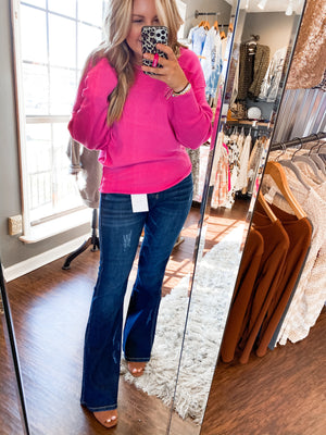 Stevie's Hot Pink Ribbed Sweater