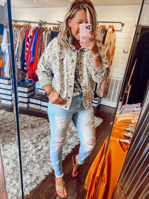 Leopard Camo Denim Jacket