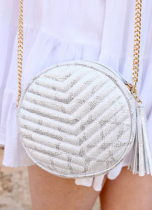 The Haley Round Crossbody Snake Metallic