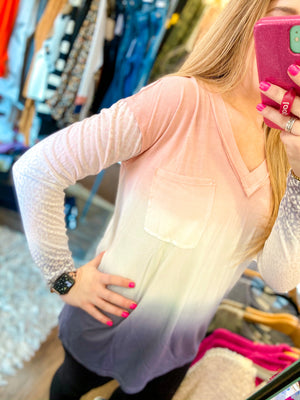 Pink and Blue Ombré Top