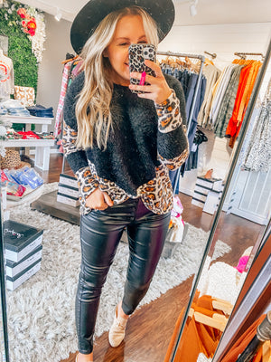 Fuzzy Leopard Knit Top